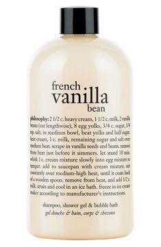 This French vanilla bean shampoo, bubble bath & shower gel has the yummiest scent.
