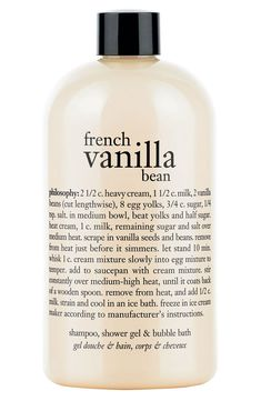 Love everything vanilla | Philosophy french vanilla bean shampoo, shower gel & bubble bath.