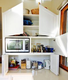 Tip on doors, Bi-Fold doors, Built in microwave & power points so appliances can be used where they are. Bi Folding Doors Kitchen, Kitchen Cabinet Doors, Bathroom Medicine Cabinet, Kitchen Cabinets, Appliance Cabinet, Power Points, Built In Microwave, Diy Cabinets, Coffee Machine