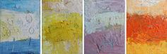 Oblong.blue.yellow.mauve.orange, oil and mixed media on canvas, each panel 9x12 inches, 2014  www.duanecregger.com