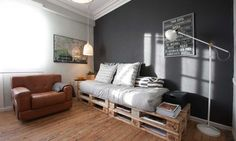 estilo industrial Crates, Couch, Bed, Projects, Furniture, Pallets, Home Decor, Rooms, Ideas