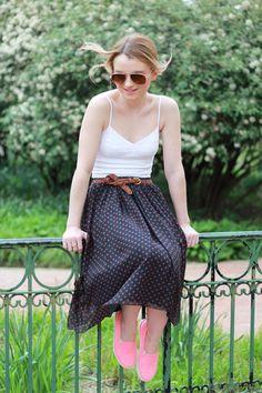 Poor Little It Girl - Aeropostale White Crop Top, Madewell Polka Dot Midi Skirt, American Eagle Outfitters Neon Slip On Sneakers