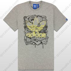 adidas Originals Mens Music Trefoil Grey T-Shirt at QV casuals. Save on a huge range of top brand tees.