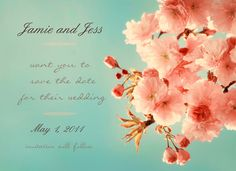 Wedding save the date cards - Cherry Cream- set of 25. $30.00, via Etsy.