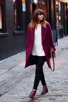 Jonathan Saunders Edition at Debenhams berry coloured coucle coat, Black skinny jeans, cream jumper, Zara burgundy bag, Wine ankle boots. EJSTYLE - Emma Hill - Blogger OOTD Street style