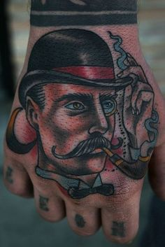 Reminds me of Sherlock Holmes // American traditional style hand tattoo // Stefan Johnsson