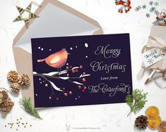 Printable Robin Christmas Card - Holiday Card - 5 x7 - Do it yourself Customizable Printable Christmas Card by TheSpringRabbit on Etsy