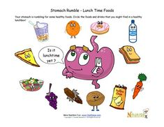 FREE---Cute worksheet that teaches children that when their stomach rumbles it means it is hungry for healthy foods.  Help kids choose the healthy foods that their stomach is asking for.