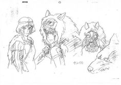 Spirited Away: A wicked paradise - Mononoke Hime / Princess Mononoke - Settei Studio Ghibli Films, Art Studio Ghibli, Studio Ghibli Characters, Hayao Miyazaki, Princess Mononoke Characters, Manga Drawing Tutorials, Character Model Sheet, Animal Sketches, Anime Artwork