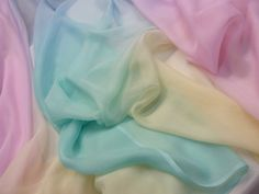 Pastel Ombre - Sold Out - Tessuti Fabrics - Online Fabric Store - Cotton, Linen, Silk, Bridal & Soft Colors, Pastel Colors, All The Colors, Colours, Soft Pastels, Chiffon Fabric, Silk Chiffon, Pastel Palette, Color Meanings
