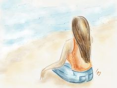 Quem me conhece sabe que não sou fã de praia, ficar no sol cheia de areia...   mas gosto de observar o mar!!! Sentir sua brisa e admirar sua imensidão e seu balançar... O som das ondas me acalma. ;) #mar #praia #menina #beach #madewithpaper #ipadart #ipadartist #ilustra #ilustração #illustration #desenho #atelierfesendra #fesendra