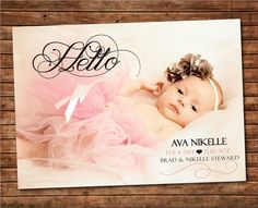 "Printable Baby Announcement: Baby Girl Photo Card ""Hello"""