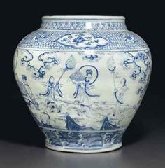 A large blue and white 'Windswept' jar, guan, Ming dynasty, century - Alain. Blue And White China, Blue China, Chinese Patterns, Blue Pottery, Chinese Ceramics, Ancient China, Chinese Antiques, Chinoiserie, White Porcelain