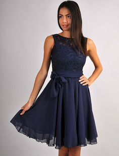 Dark Blue Dress BridesmaidEngagement Dress Lace by FashionDress8, $41.00