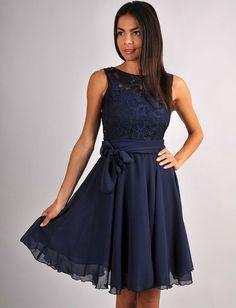 Dark Blue Dress BridesmaidEngagement Dress Lace by FashionDress8, $41.00