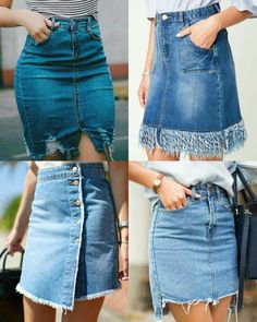 Diseño Jeans Refashion, Diy Jeans, Refaçonner Jean, Recycled Mens Shirt, Denim Fashion, Fashion Outfits, Lace Jeans, Merian, Shirt Skirt