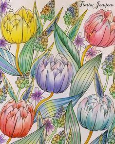 Instagram media tiatiajewjew - 野の花のぬり絵 チューリップ 見開きページ右ページ…
