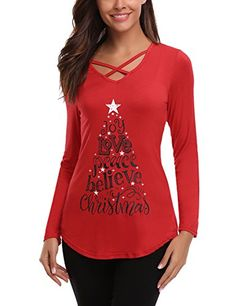 13dfdc68be0d5 iClosam Womens Sexy Cross Front VNeck Long Sleeve Christmas Letter Print  TShirt Tunic Tops