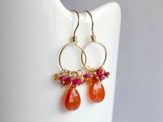 Genuine ruby earrings orange earrings petite by BohemianPleasures