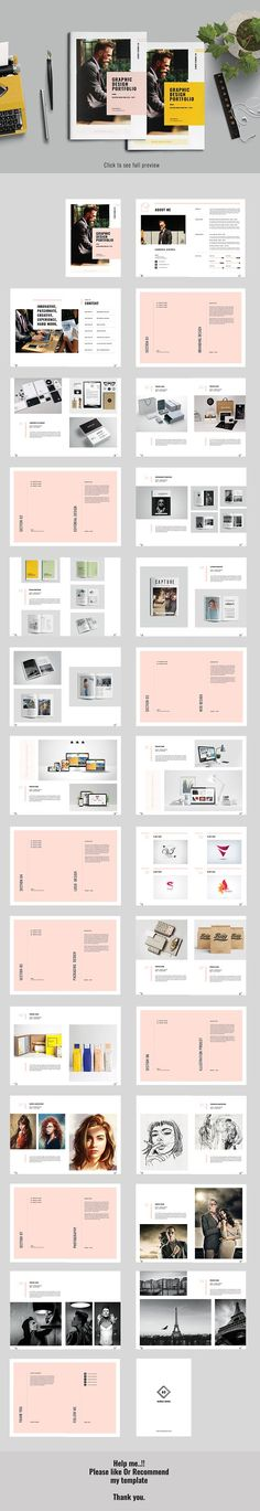 Graphic Design Portfolio by Occy Design on @creativemarket #brochure #graphicdesign #portfolio #branding #editorial #webdesign #logo #packaging #illustration #photography #fashion #style #portrait #pink