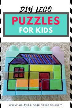 These puzzles for toddlers are very simple and easy to make, and you can carry them along in your busy bag.This activity uses LEGO blocks and sharpie. Lego Activities, Spelling Activities, Fun Activities For Kids, Creative Activities, Indoor Activities, Infant Activities, Busy Boxes, Puzzles For Toddlers, Learning The Alphabet