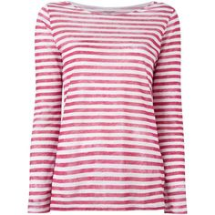 Majestic Filatures Longsleeved Striped T-Shirt (200 CAD) ❤ liked on Polyvore featuring tops, t-shirts, shirts, long sleeve tops, red, red striped shirt, linen shirt, t shirts, striped long sleeve shirt and pink long sleeve shirt