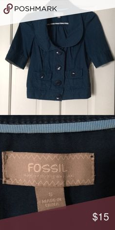 Fossil short sleeved blazer Super cute blazer from Fossil, love the color and cut. A lot of ways to have fun with this Fossil Jackets & Coats Blazers