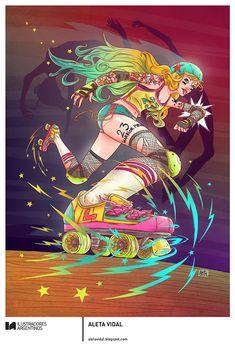 © ALETA VIDAL | Ilustración para la muestra Roller Derby de Ilustradores Argentinos | #rollerderby | Fotos: https://www.facebook.com/media/set/?set=a.725585730870003.1073741832.100296976732218&type=1