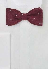 Self Tie Wool Bow Tie in Red with Polka Dots