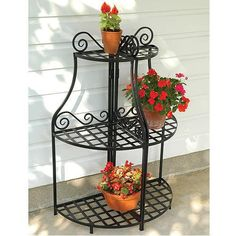Black Forged Steel  Plant Stand