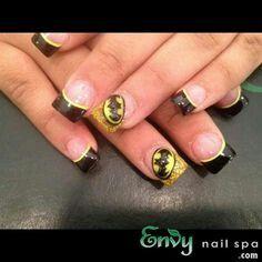 Black and yellow batman nail
