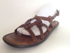 Born Womens Brown Soft Comfort Leather Strappy W6192 Sandals size 8 #Born #Strappy