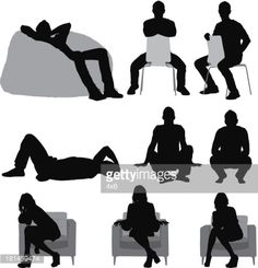 Vector Art : Silhouette of people sitting in different poses