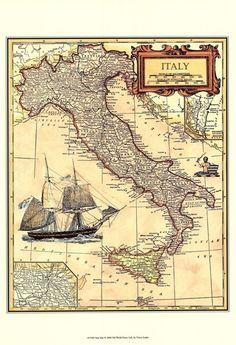 Italy Map at FramedArt.com