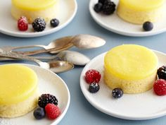 Tyler's 5-star Lemon Pudding Cake with Fresh Mixed Berries
