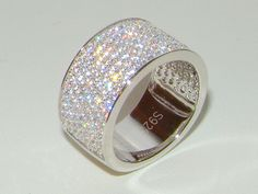 Sterling Silver wedding Band,7row 925 Engagement diamond Eternity Ring Size 8/Q