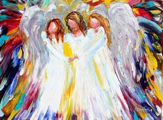 Angels painting abstract original oil on canvas palette knife #angels #painting #karensfineart