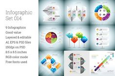 Set of 9 custom infographics and design elements. Each infographic is provided with AI, EPS, and PSD files, and additional EPS with all text expanded.