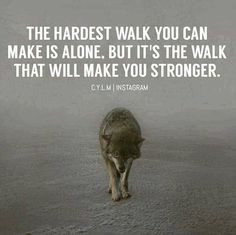 Positive Quotes : The hardest walk you make is alone but it's the walk that will make you stronger. - Hall Of Quotes Wisdom Quotes, True Quotes, Great Quotes, Quotes To Live By, Motivational Quotes, Inspirational Quotes, Loner Quotes, Happy Quotes, Quotes Quotes