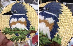 Patricia Sone of Creative Stitches and Gifts in Dallas, Texas stitched this Melissa Prince Designs needlepoint canvas. Her stitch guide includes the variety of stitches and threads needed to create this gorgeous bird.