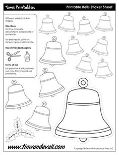 Christmas Bell Template, free for personal arts and crafts projects. For high resolution JPEG (1200x 927) please visit:  http://timvandevall.com/shape-templates/bell-templates/