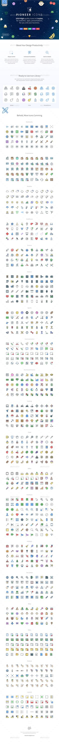 Pioneer Icons. 1010 icons in 3 styles — Vector EPS #png #devices • Download ➝ https://graphicriver.net/item/pioneer-icons-1010-icons-in-3-styles/19064015?ref=pxcr
