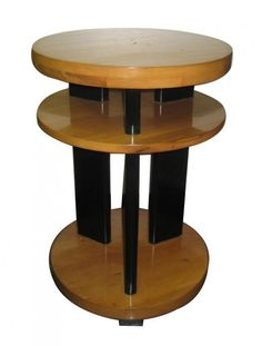 American Art Deco End Table / 1935 / Rock Maple and Black Lacquer