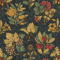 Meadow Fruit Printed Fabric A striking printed fabric with a design of multicoloured fruits and flowers on a patterned indigo ground. The design, which features grapes, pomegranates, blackberries, cherries, and acorns alongside roses and varieties of dianthus, was first produced in 1911 and inspired by a mille-fleurs tapestry. It remains within the Arts and Crafts aesthetic, but would look perfect in a period or a contemporary room.