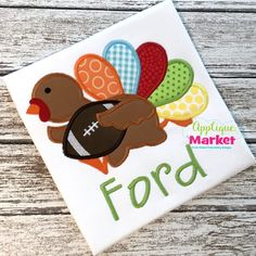 Bring in the season with Applique Market's great selection of special designs. The Thanksgiving Season is a great time of year for customized clothing with our Turkey Football applique design.