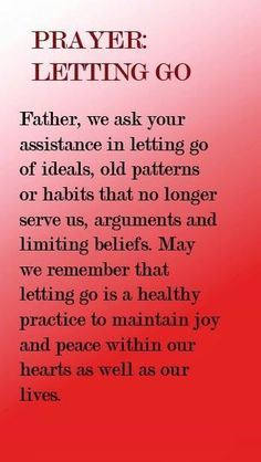 Prayer to let go