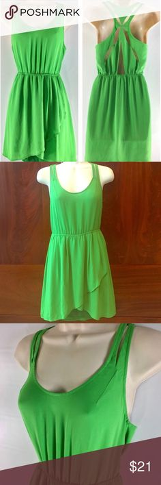 Urban Outfitters Silence + Noise Back Cutout Dress Only worn twice! Beautiful green dress, Best to wear with sticky bras! Superlight and perfect for the summertime. I'm moving so I'm clearing out my closet and trying to find my old clothes a new home! Open to any offers, feel free to ask me any questions! Urban Outfitters Dresses Midi