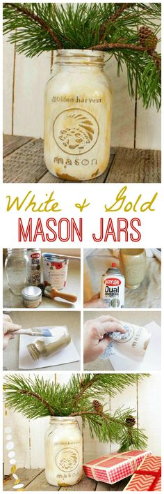 Distressed White & Gold Mason Jars {for Your Holiday Table} - The Happy Housie