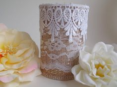 burlap and lace covered tin cans DIY