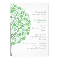 Circle tree in green, grey wedding bridal shower invites